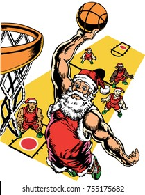 Santa & the elves are playing basketball! Jolly ol' St. Nick is showing his stuff slam junking the ball through the net. Full court press! Perfect for holiday tournament ads, posters shirts & more!