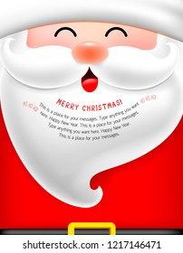 Santa face with beard cartoon character. Merry Christmas and happy new year. llustration, design for greeting card, banner, poster.