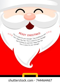 Santa face with beard cartoon character. Merry Christmas and happy new year. Vector Illustration, design for greeting card, banner, poster.
