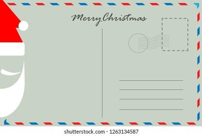 Santa face on Christmas postcard