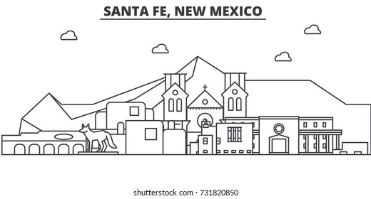Santa Fe, New Mexico architecture line skyline illustration. Linear vector cityscape with famous landmarks, city sights, design icons. Landscape wtih editable strokes