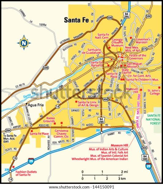 Santa Fe New Mexico Area Map | Transportation, Education ...