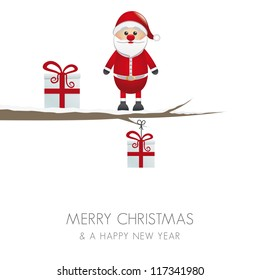 santa figure on branch isolated white background