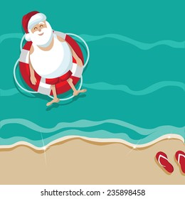 Santa floating in a lifesaver beach background EPS 10 vector stock illustration