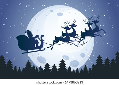 Santa flying across the Moon
