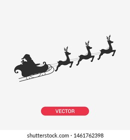 Santa flying with deer. Santa Claus sleigh and reindeer. Santa icon.