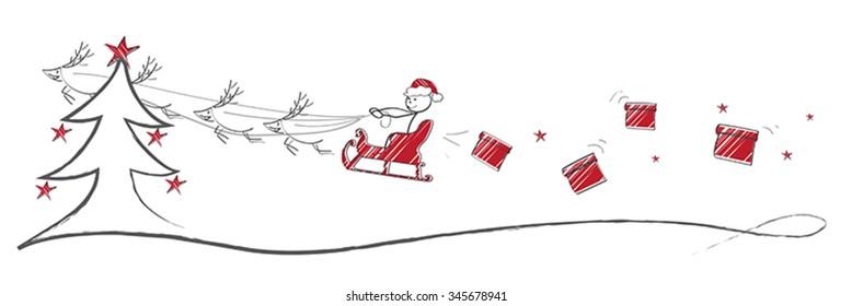 Santa flying on sleigh over christmas landscape