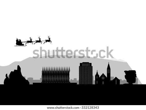 City Of Colorado Springs >> Santa Flying Over City Colorado Springs Stock Image