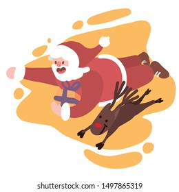 Santa flying with rudolph the red nose raindeer to deliver present