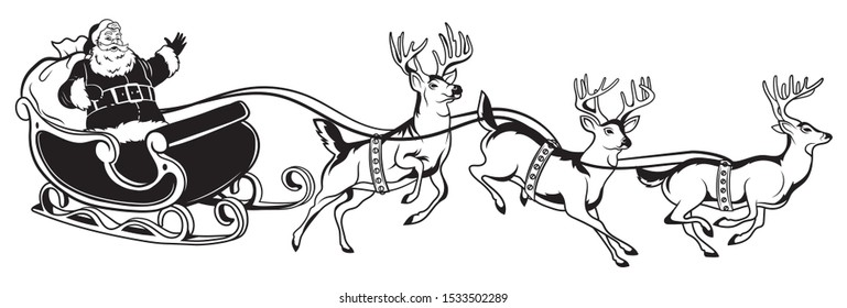 Santa flying in a sleigh with reindeer. Christmas illustration of Santa Claus with a bag of gifts.New Year.Drawing for children.