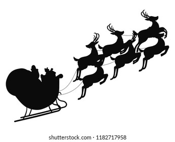Santa flying in a sleigh with reindeer. Vector illustration. Isolated object. Black silhouette. Christmas.