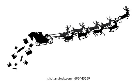 Santa flying in a sleigh with reindeer. Vector illustration. Isolated object. Black silhouette.  Santa Claus gives out gifts.