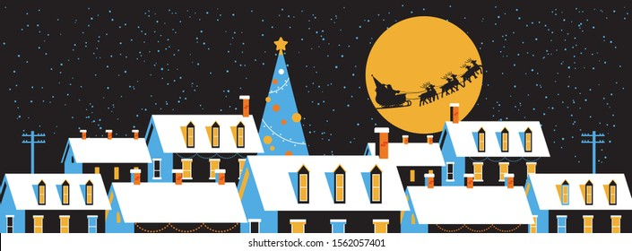 santa flying in sleigh with reindeers in night sky over snowy village houses merry christmas happy new year winter holidays concept greeting card flat horizontal vector illustration