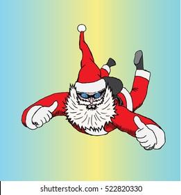 Santa in free fall. hand drawing doodle