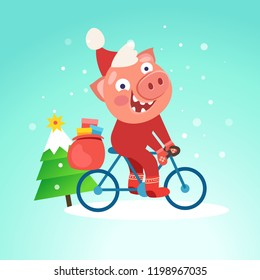 Santa funny pig ride bicycle with Christmas tree. Merry Christmas and Happy new year 2019 concept. Vector illustration