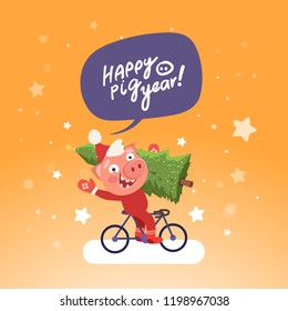 Santa funny pig ride bicycle with Christmas tree and bubble Happy pig year. Merry Christmas and Happy new year 2019 concept. Vector illustration