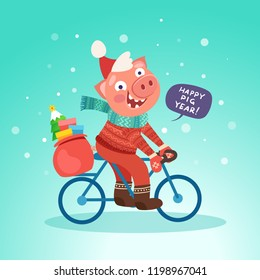 Santa funny pig ride bicycle with bubble Happy pig year. Merry Christmas and Happy new year 2019 concept. Vector illustration