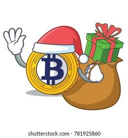 Santa with gift Bitcoin Gold character cartoon