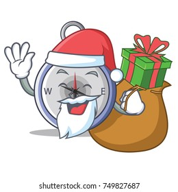 Santa with gift compass character cartoon style