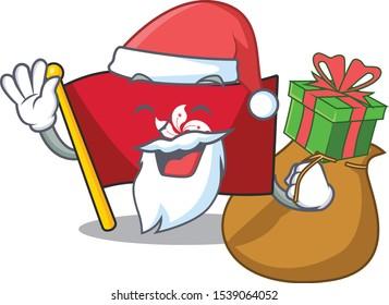 Santa with gift flag hongkong on the with mascot