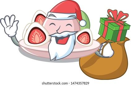 Santa with gift ichigo daifuku served on mascot bowl