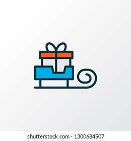 Santa gift icon colored line symbol. Premium quality isolated sledge element in trendy style.