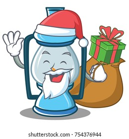 Santa with gift lantern character cartoon style