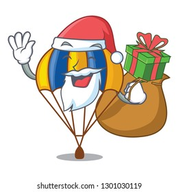 Santa with gift parachute in shape of acartoon fuuny