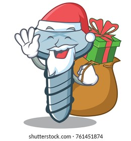 Santa with gift screw character cartoon style