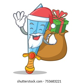 Santa with gift sword character cartoon style vector illustration