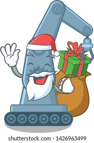 Santa with gift toy mechatronic robot arm cartoon shape