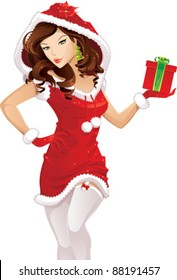 Santa girl with christmas gift isolated on white