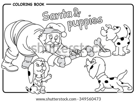 Santa Gives Bone Puppies Christmas Coloring Stock Vector Royalty
