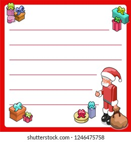 Santa gives thumbs up with lots of nicely wrapped presents (christmas template, framed and lined for your own text)
