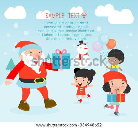 santa handing out gifts children christmas poster stock vector