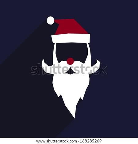 be4e527eb34 Santa hat and beard. Flat Christmas icon with long shadow. Santa Claus  Face. Flat Design. Vector Icon. Mustache
