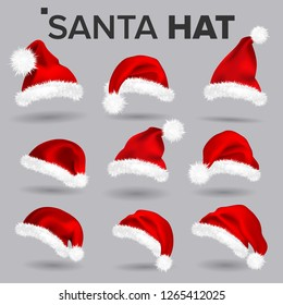 Santa Hat Set Vector. Santa Claus Holiday Red And White Cap Colllection. Winter Christmas Design. Isolated Realistic Illustration