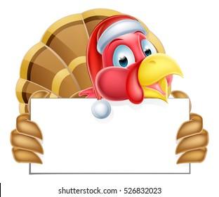 A Santa hat Thanksgiving or Christmas cartoon turkey holding a sign