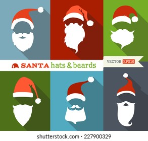 Santa hats and beards. Flat Christmas icons with long shadow. Retro design.