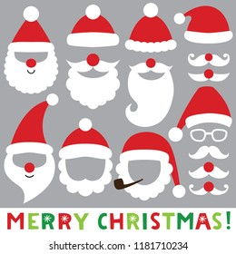 Santa hats, beards and mustaches, vector Christmas photo booth props