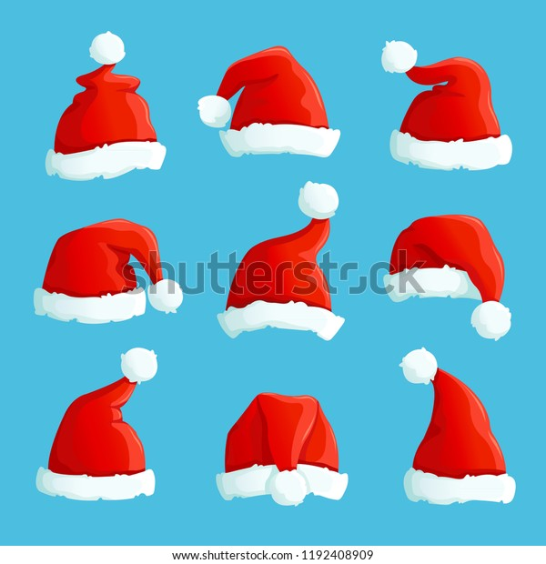 Christmas Images Free Cartoon.Santa Hats Cartoon Christmas Costume Caps Stock Vector