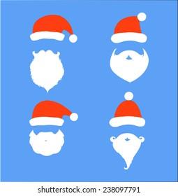 Santa hats, moustache and beards. Christmas elements for your festive design. Vector illustration