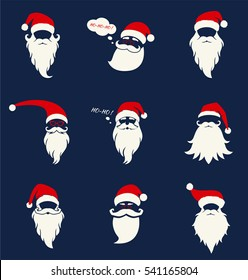 Santa hats, mustache and beards. Christmas elements for greeting design. New Year. Vector set in a flat style isolated on a blue background.