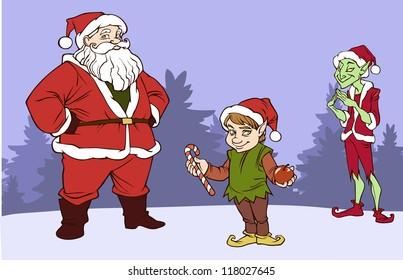 Santa and his company