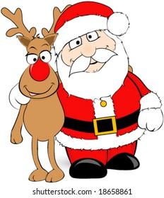 Santa and his reindeer vector.