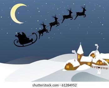 santa and his sleigh - vector