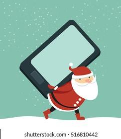 Santa holding huge smartphone