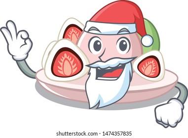 Santa ichigo daifuku served on mascot bowl