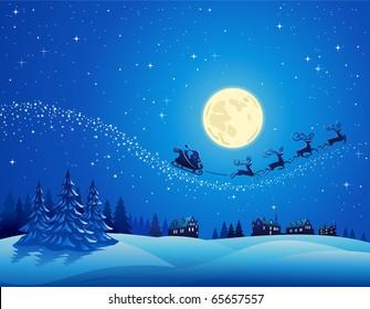 Santa Into the Winter Christmas Night