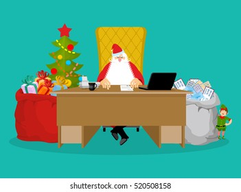 Santa job. Claus checks mail from children. Big bag of incoming post. Red gift sack toys, sweets. Grandfather sits with his assistants for sitting at table office. Elves prepare gifts. Christmas Boss